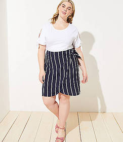 LOFT Plus Striped Wrap Skirt