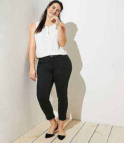 LOFT Plus Modern Double Frayed Skinny Crop Jeans i