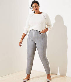 LOFT Plus Plaid High Waist Skinny Ankle Pants