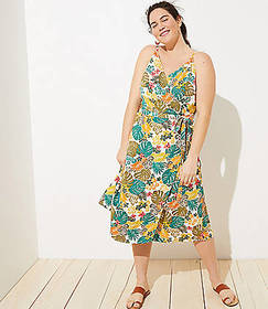 LOFT Plus LOFT Beach Tropical Wrap Midi Dress