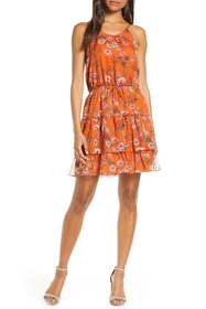 Chelsea28 Tiered Chiffon Fit & Flare Dress