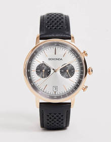 Sekonda leather watch in black with silver dial