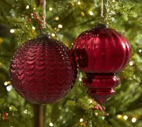 Pottery Barn Oversized Red Mercury Glass Ornaments