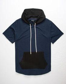 ELWOOD Color Block Navy Mens Hooded T-Shirt_