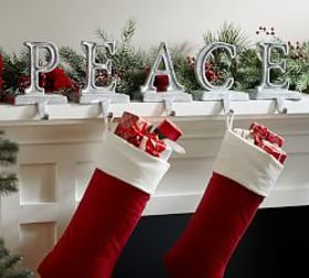 Pottery Barn Peace Stocking Holders