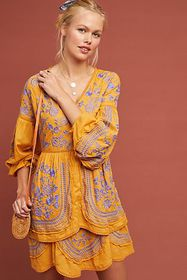 Anthropologie Lisette Embroidered Tunic Dress