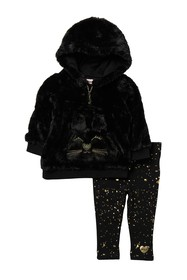 Juicy Couture 2-Piece Faux Fur Hoodie & Leggings S