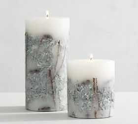 Pottery Barn Winter Woods Scented Botanical Pillar