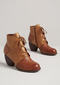 On the Move Lace-Up Bootie Tan