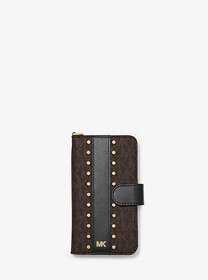 Michael Kors Studded Logo Wristlet Folio Case for