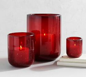 Pottery Barn Recycled Bubble Glass Candle Holders