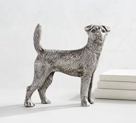 Pottery Barn Silver Dog Object