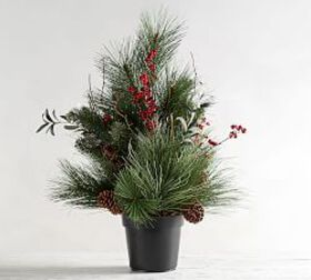 Pottery Barn Potted Faux Wintergreens & Berry Tree