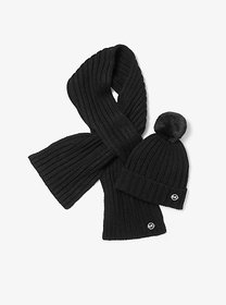 Michael Kors Ribbed Knit Beanie and Scarf Set