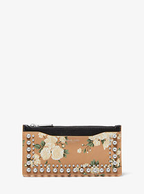 Michael Kors Large Studded Floral Leather Card Cas