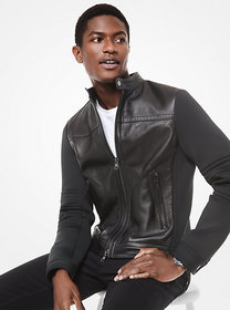 Michael Kors Nappa Leather and Scuba Racer Jacket