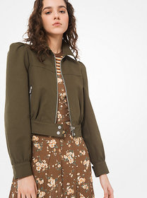 Michael Kors Washed Cotton-Twill Cropped Jacket