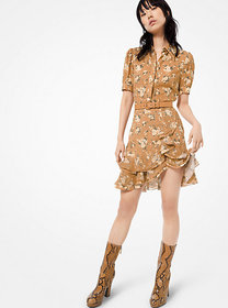 Michael Kors Floral Silk-Georgette Mini Shirtdress