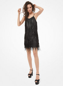 Michael Kors Plongé Leather Fringed Mini Dress