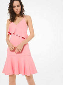 Michael Kors Stretch-Cady Ruffled Tank Dress