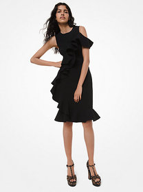 Michael Kors Stretch-Bouclé Ruffle Dress