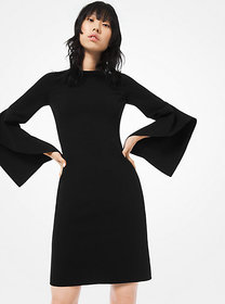 Michael Kors Stretch Wool-Crepe Draped-Sleeve Shea