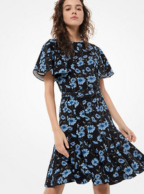 Michael Kors Daisy Stretch-Cady Ruffle Dress
