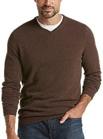 Joseph Abboud Cashmere Brown Modern Fit V-Neck Swe