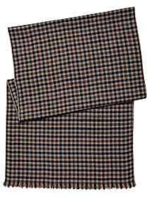 Pronto Uomo Gray & Tan Check Microwool Scarf