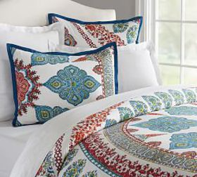 Pottery Barn Aurora Duvet Cover & Shams - Multi