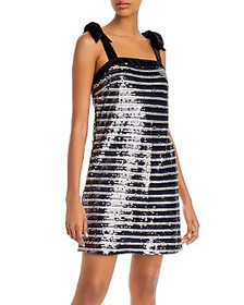 AQUA - Sequined Striped Dress - 100% Exclusive