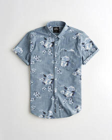 Hollister Floral Chambray Slim Fit Shirt, BLUE FLO