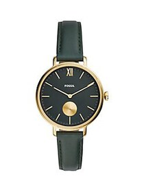Fossil Kayla 3-Hand Goldtone Stainless Steel & Lea
