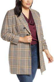 1.State Ruched Sleeve Plaid Blazer (Plus Size)