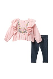 Jessica Simpson Floral Embroidered Top & Leggings