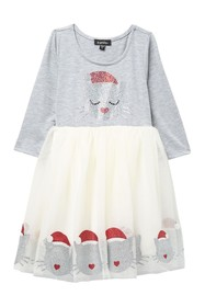Zunie 3/4 Sleeve Embellished Bodice Kitty Print Dr