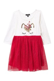Zunie 3/4 Sleeve Sequin Face Dress (Little Girls)