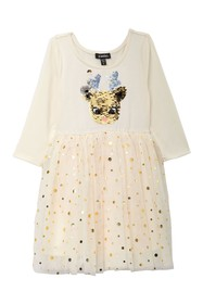 Zunie 3/4 Sleeve Sequin Reindeer Dress (Little Gir