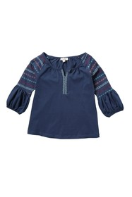 Jessica Simpson Bubble Sleeve Embroidered Top (Big