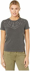 Lucky Brand Embroidered Yoke Neck Tee