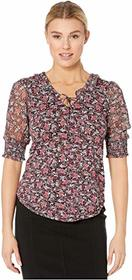 Lucky Brand Printed Smocked Cuff Top
