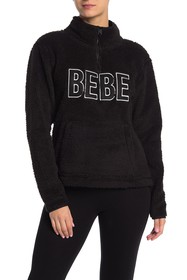 bebe Faux Shearling Quarter Zip Logo Embroidered S
