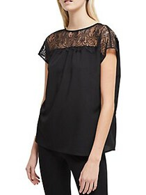 French Connection Cap-Sleeve Lace Top BLACK