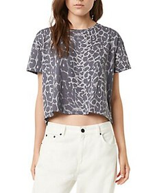 French Connection Leopard-Print Boxy Crop Top GREY