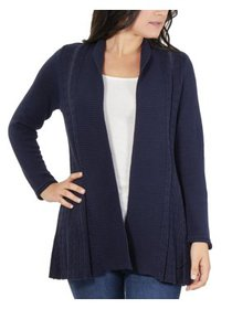 Women's Petite Multi-Stitch Open Front Cardigan