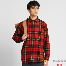 MEN FLANNEL CHECKED PULLOVER LONG-SLEEVE SHIRT (JW