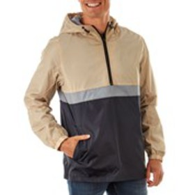 Mens Hooded Color Block Windbreaker Jacket