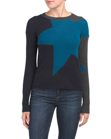 WHITE + WARREN Cashmere Exaggerated Star Crew Neck