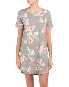 FLORA BY FLORA NIKROOZ Floral Sleepshirt With Lace