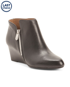Reveal Designer Leather Wedge Ankle Booties